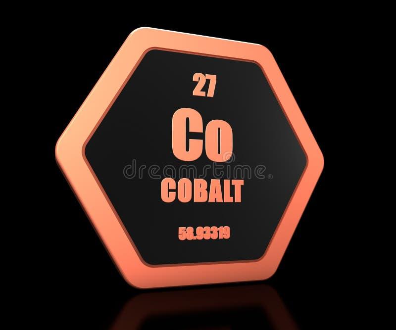 Cobalt chemical element periodic table symbol 3d render vector illustration