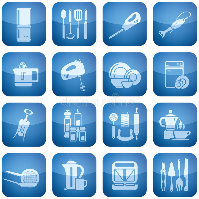 Download Cobalt Square 2D Icons Set Stock Images - Image: 12911084