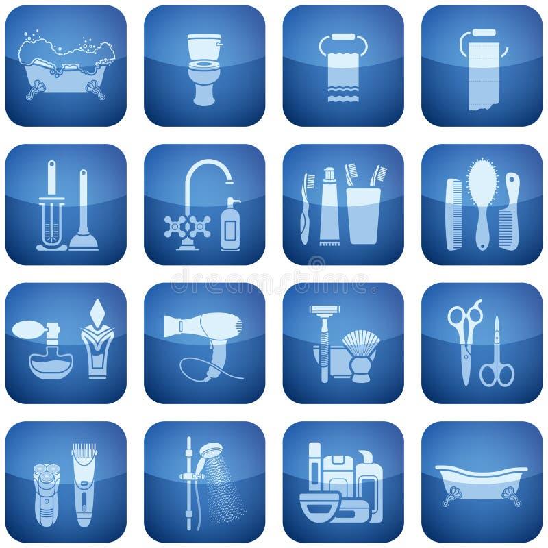 Free Cobalt Square 2D Icons Set: Bath Royalty Free Stock Image - 12944426