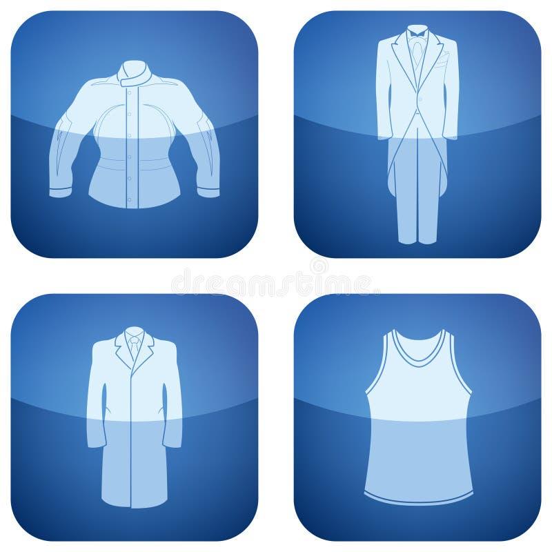 Cobalt Square 2D Icons Set: Man S Clothing Stock Photo