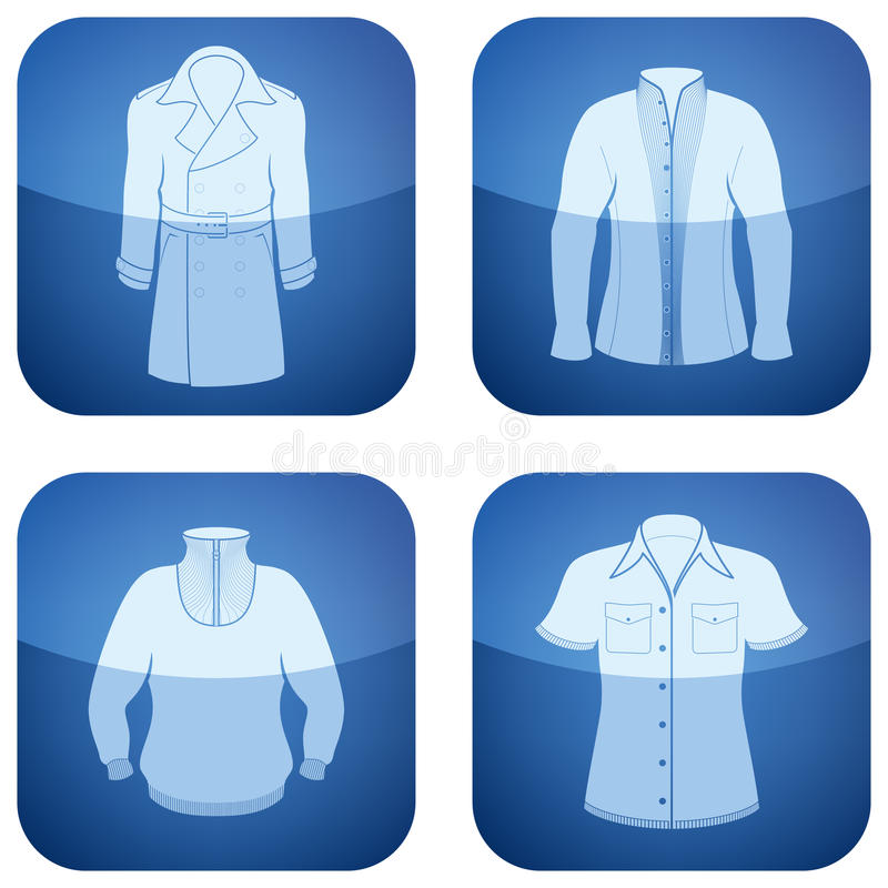 Cobalt Square 2D Icons Set: Man S Clothing Royalty Free Stock Image