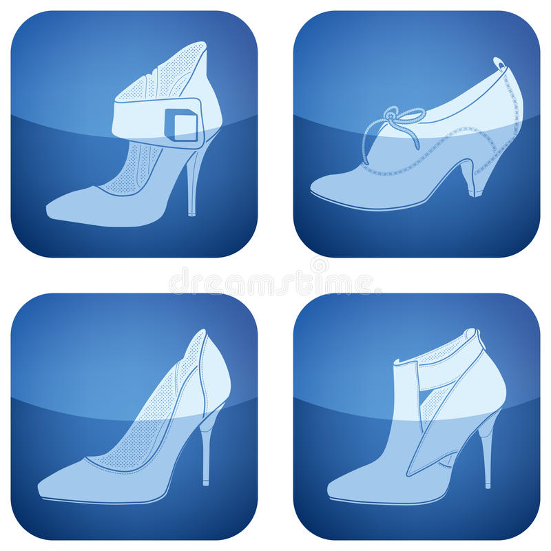 Free Cobalt Square 2D Icons Set: Woman S Shoes Royalty Free Stock Images - 13308959