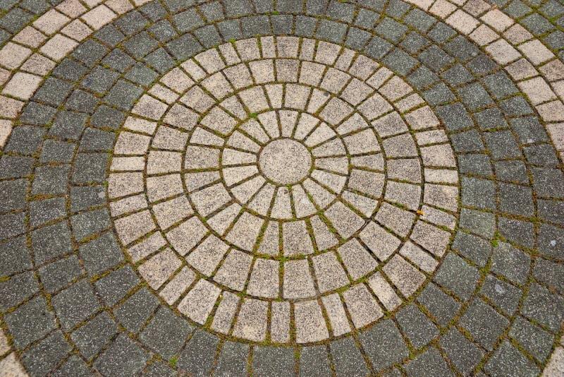 Cobble o teste padrão redondo da estrada de um pavimento de pedra da rua fotografia de stock royalty free