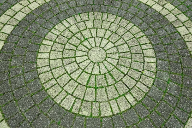 Cobble rundes Muster der Straße einer Steinstraßenpflasterung stockfotografie