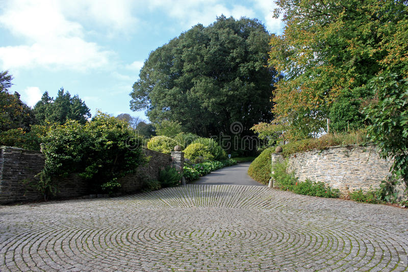Cobbled driveway. Patterns in stone of a cobbled driveway stock image