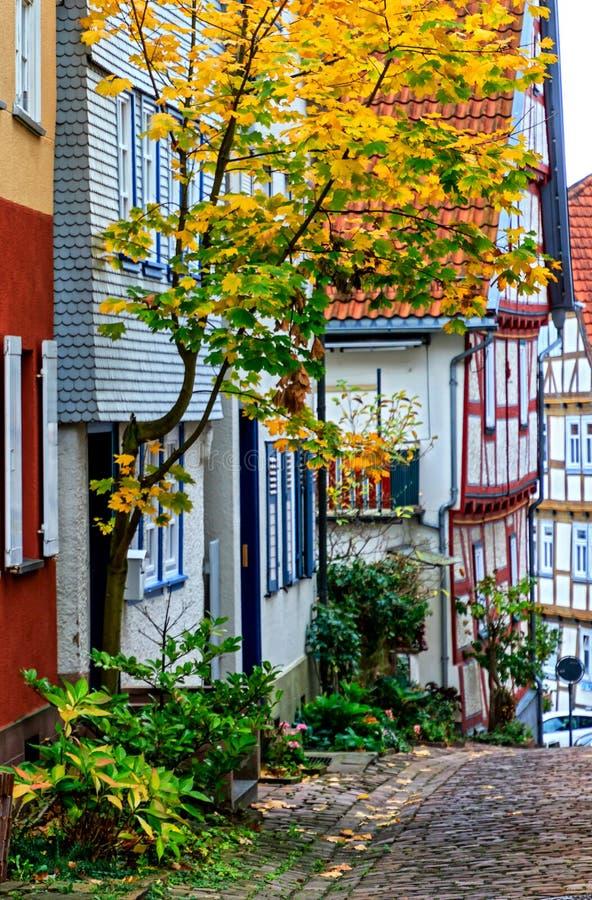 A steep alley of Romantic Burgenstadt Schlitz Vogelsbergkreis, Germany stock photography