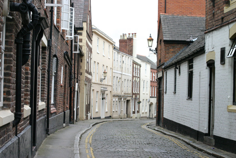 Cobbled Straße in Chester England lizenzfreies stockbild
