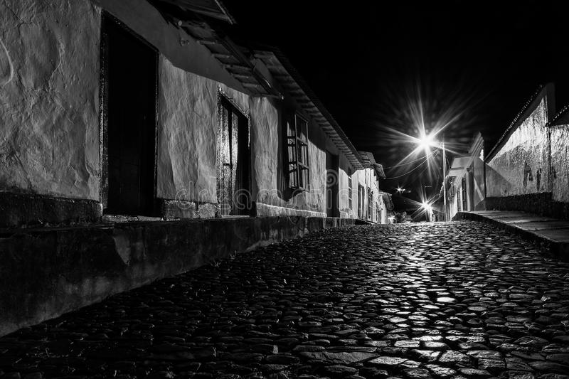 Cobbled Street by Night. San Francisco de Macaira by night. Guarico state, Venezuela royalty free stock photo