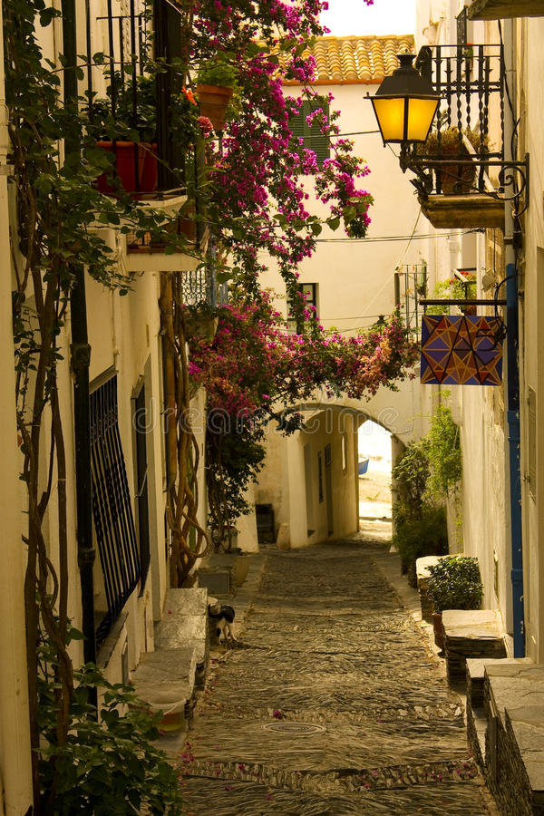 Cobbled street in Spain stock image