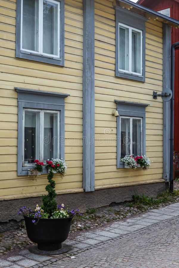 Cobbled streets and colorfully painted old wooden houses in Porvoo in Finland in a summer evening - 4. Cobbled streets and colorfully painted old wooden houses royalty free stock photos
