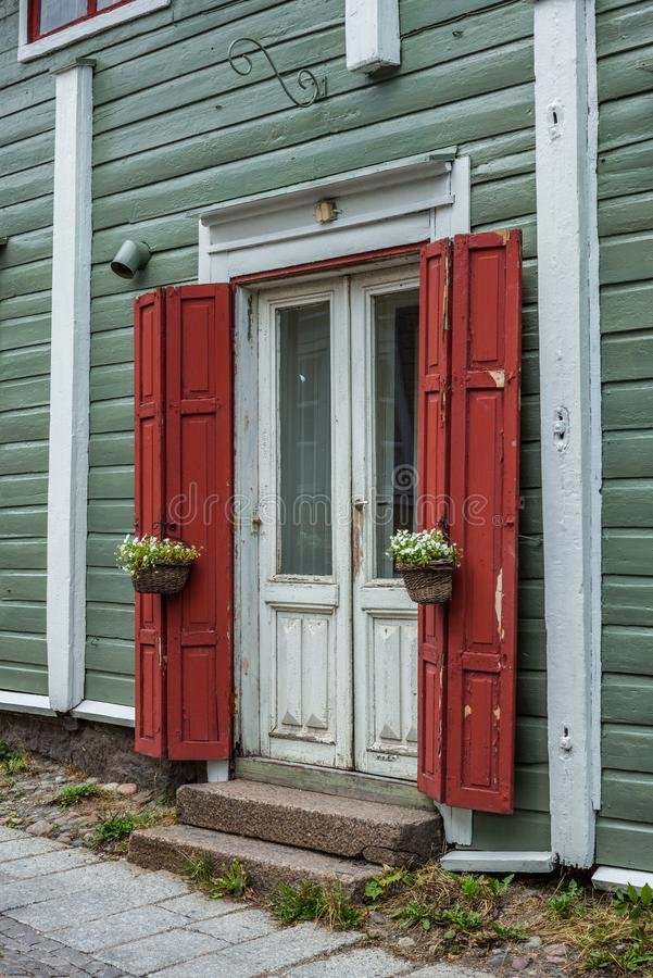 Cobbled streets and colorfully painted old wooden houses in Porvoo in Finland in a summer evening - 6. Cobbled streets and colorfully painted old wooden houses stock photo