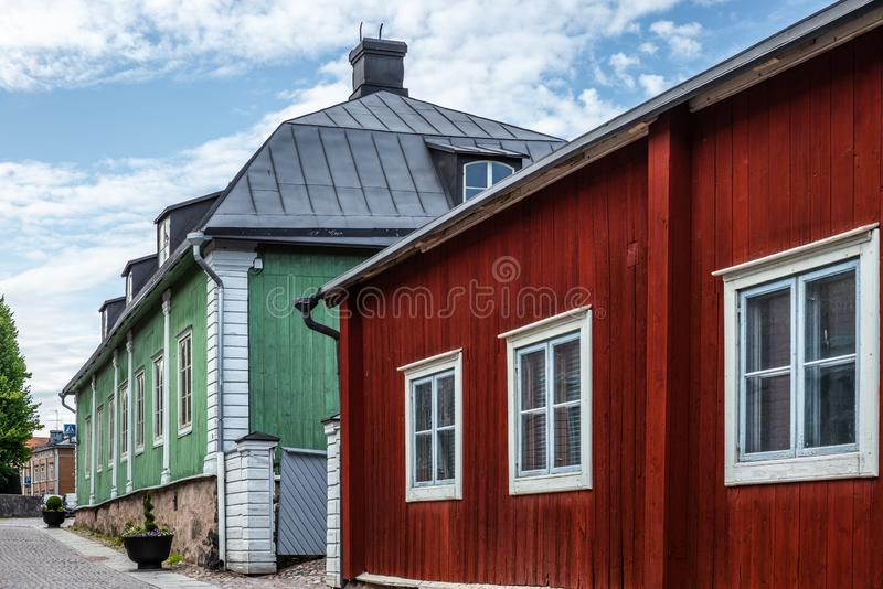 Cobbled streets and colorfully painted old wooden houses in Porvoo in Finland in a summer evening - 10. Cobbled streets and colorfully painted old wooden houses royalty free stock photography