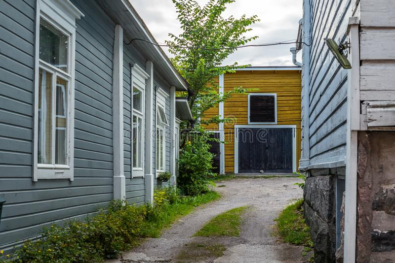 Cobbled streets and colorfully painted old wooden houses in Porvoo in Finland in a summer evening - 8. Cobbled streets and colorfully painted old wooden houses royalty free stock photos