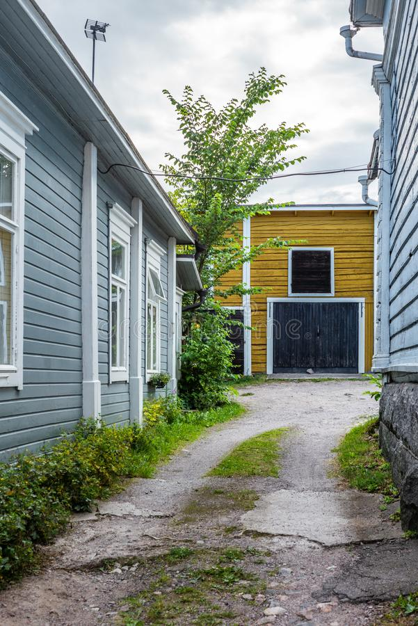 Cobbled streets and colorfully painted old wooden houses in Porvoo in Finland in a summer evening - 9. Cobbled streets and colorfully painted old wooden houses stock photos