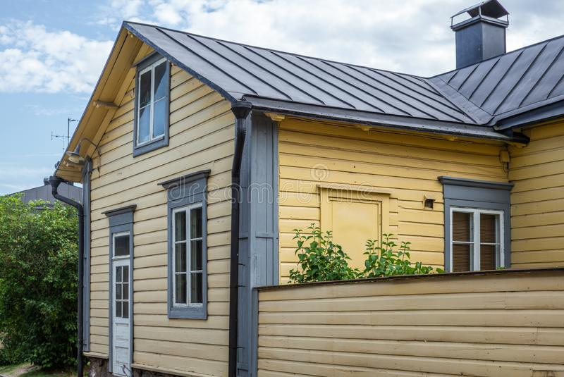 Cobbled streets and colorfully painted old wooden houses in Porvoo in Finland in a summer evening - 15. Cobbled streets and colorfully painted old wooden houses royalty free stock photo