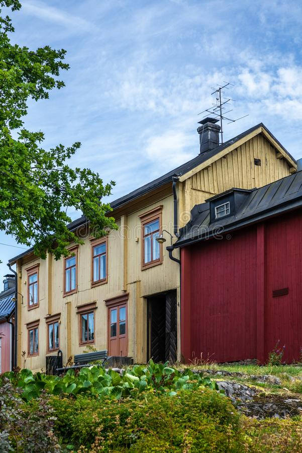 Cobbled streets and colorfully painted old wooden houses in Porvoo in Finland in a summer evening - 18. Cobbled streets and colorfully painted old wooden houses royalty free stock images
