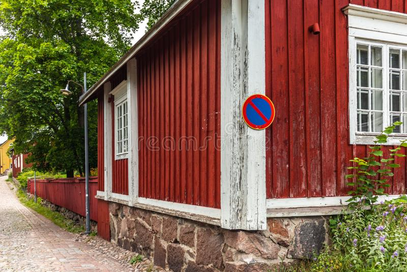 Cobbled streets and colorfully painted old wooden houses in Porvoo in Finland in a summer evening - 19. Cobbled streets and colorfully painted old wooden houses stock images