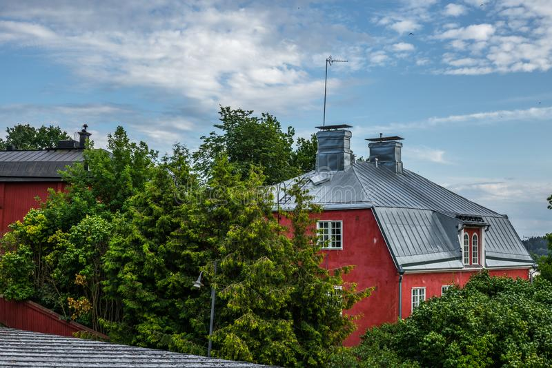 Cobbled streets and colorfully painted old wooden houses in Porvoo in Finland in a summer evening - 12. Cobbled streets and colorfully painted old wooden houses stock image