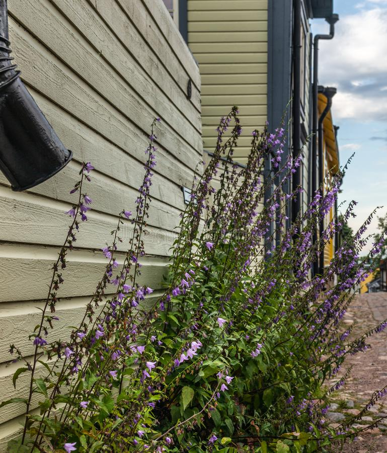 Cobbled streets and colorfully painted old wooden houses in Porvoo in Finland in a summer evening - 14. Cobbled streets and colorfully painted old wooden houses royalty free stock image