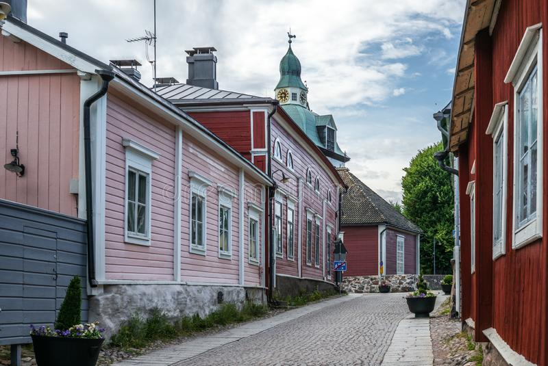 Cobbled streets and colorfully painted old wooden houses in Porvoo in Finland in a summer evening - 17. Cobbled streets and colorfully painted old wooden houses stock photos