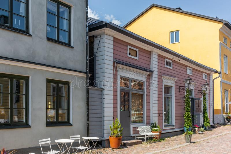 Cobbled streets and colorfully painted old wooden houses in Porvoo in Finland in a summer evening - 25. Cobbled streets and colorfully painted old wooden houses stock photos