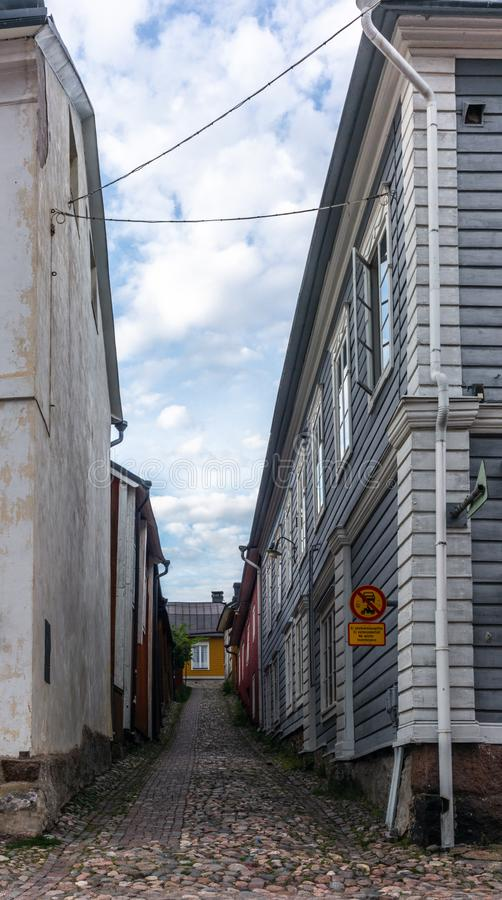 Cobbled streets and colorfully painted old wooden houses in Porvoo in Finland in a summer evening - 22. Cobbled streets and colorfully painted old wooden houses stock images