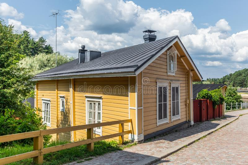 Cobbled streets and colorfully painted old wooden houses in Porvoo in Finland in a summer evening - 26. Cobbled streets and colorfully painted old wooden houses stock photo