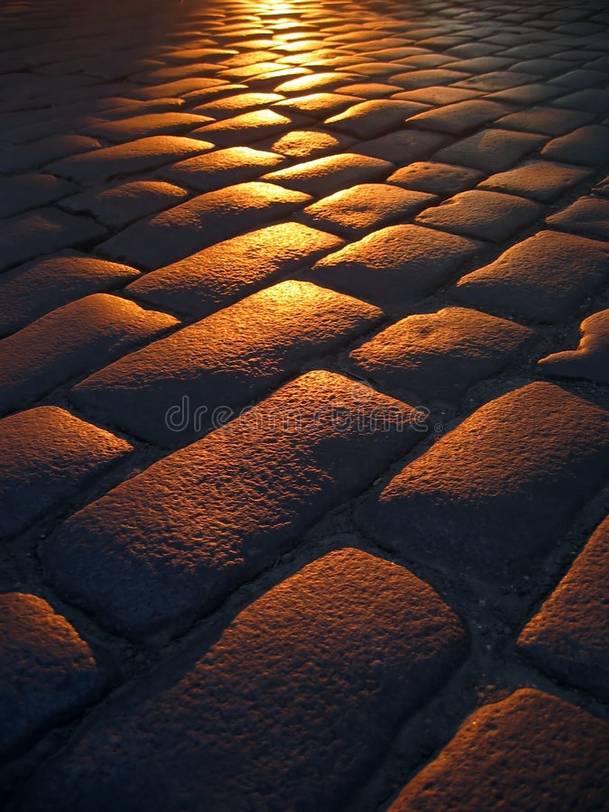 Download Cobbled sunset stock image. Image of sunset, street, light - 190147
