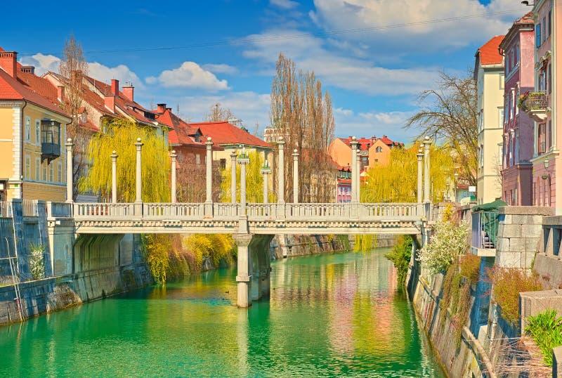 The Cobblers` Bridge in the old town Ljubljana, Slovenia.  royalty free stock photos
