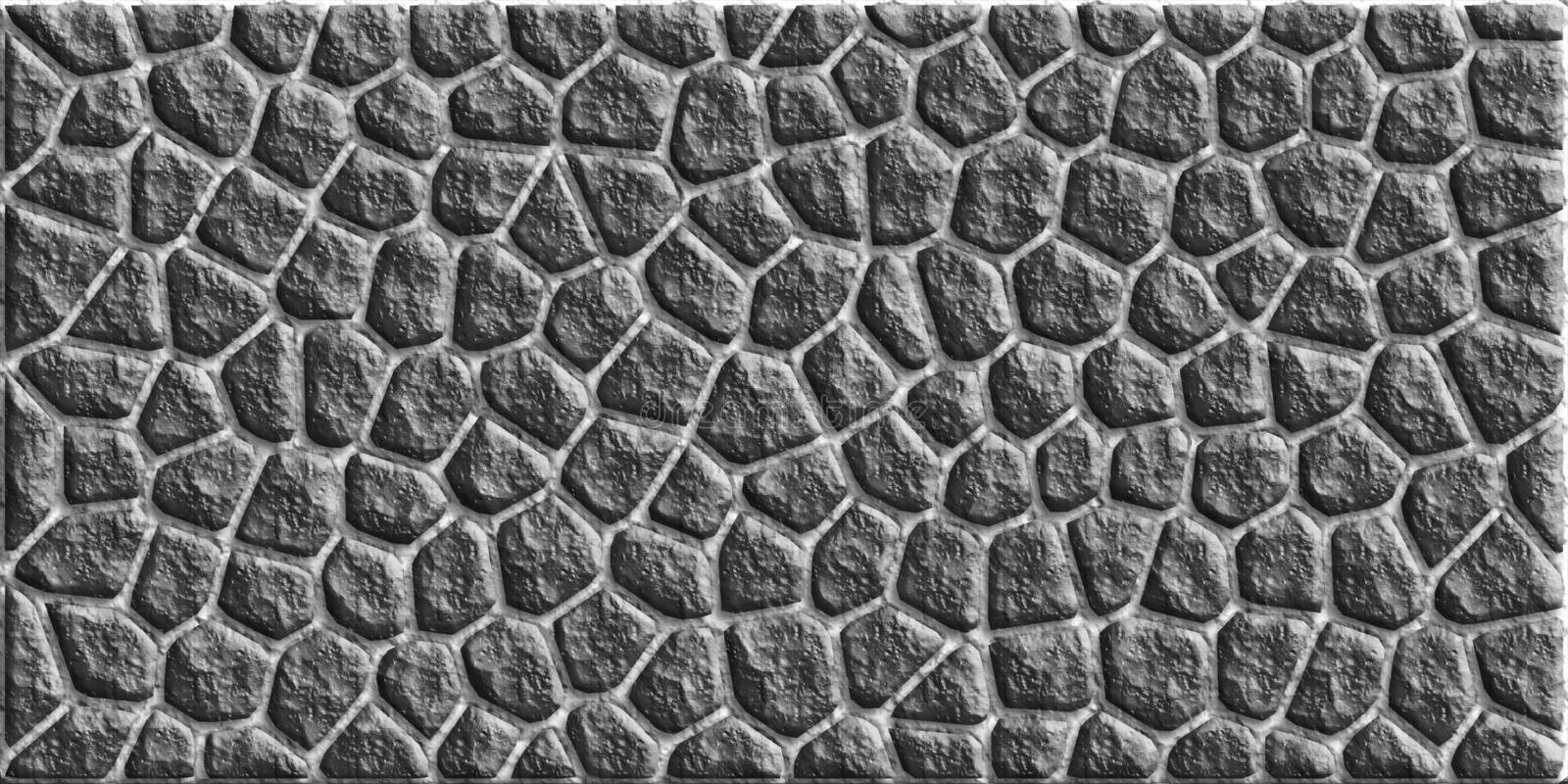 Cobblestone. Black on white cobblestone texture royalty free illustration