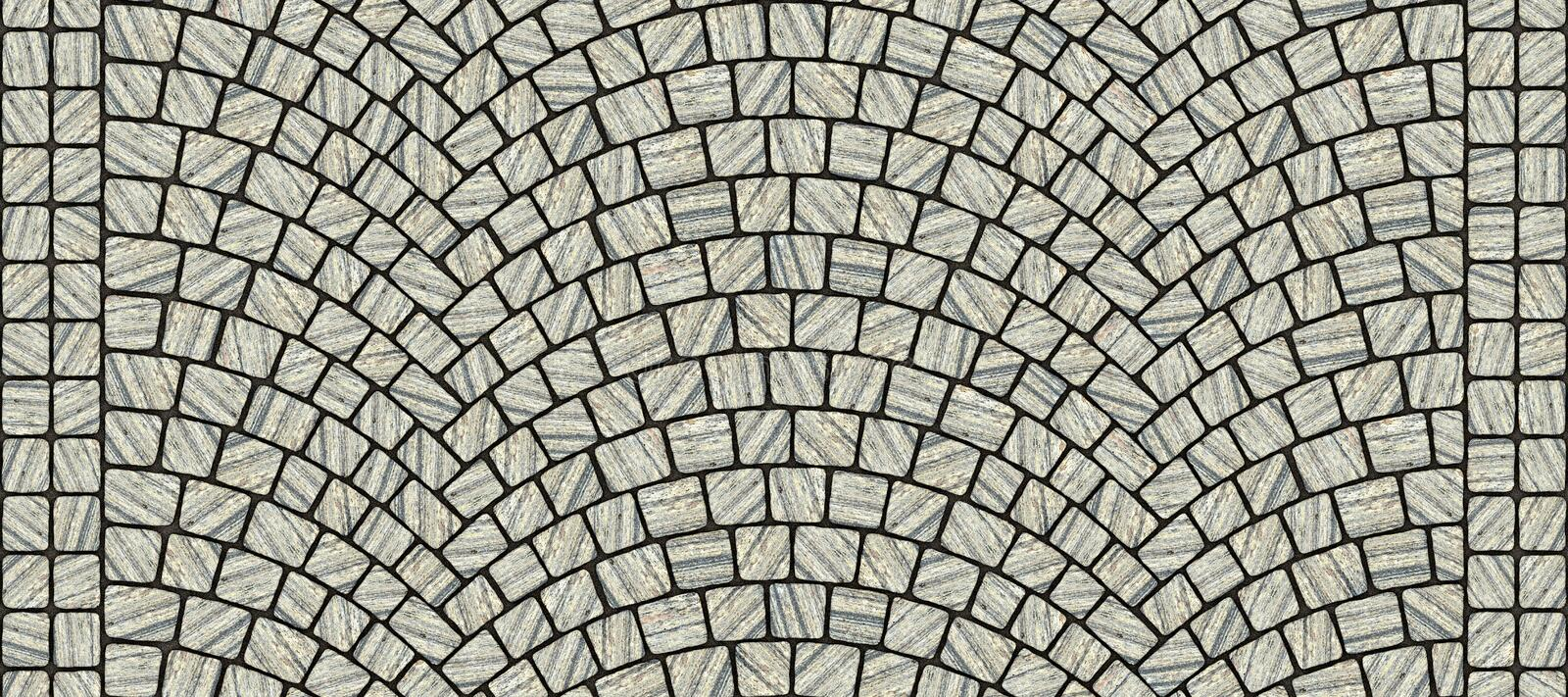 Road curved cobblestone texture 029. Cobblestone arched pavement road with edge courses at the sidewalk. Seamless tileable repeating 3D rendering texture royalty free illustration