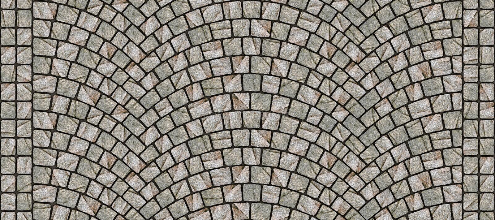 Road curved cobblestone texture 079. Cobblestone arched pavement road with edge courses at the sidewalk. Seamless tileable repeating 3D rendering texture vector illustration