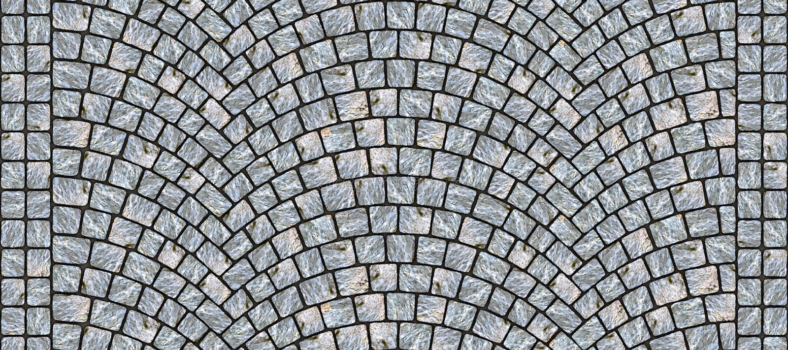 Road curved cobblestone texture 118. Cobblestone arched pavement road with edge courses at the sidewalk. Seamless tileable repeating 3D rendering texture stock illustration