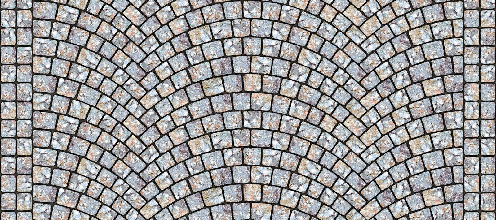 Road curved cobblestone texture 120. Cobblestone arched pavement road with edge courses at the sidewalk. Seamless tileable repeating 3D rendering texture stock illustration