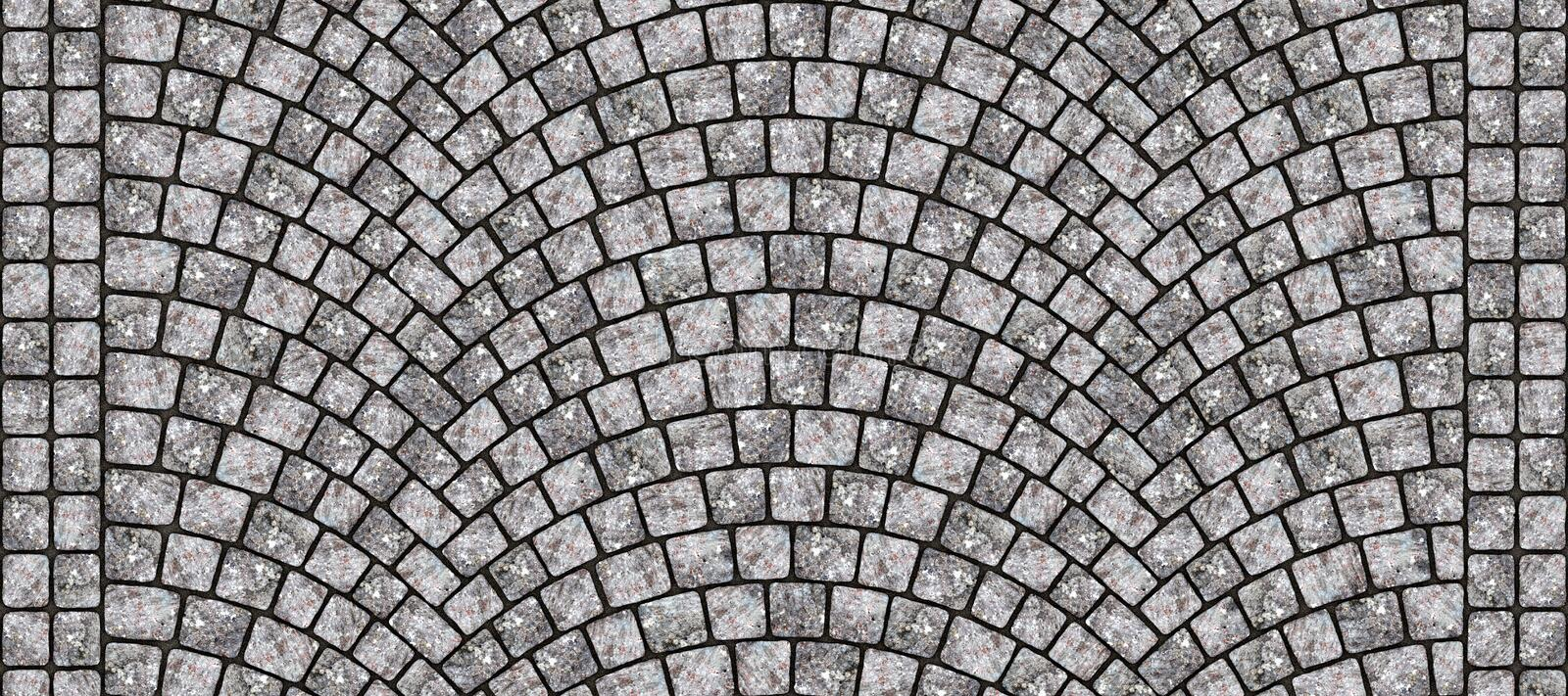 Road curved cobblestone texture 123. Cobblestone arched pavement road with edge courses at the sidewalk. Seamless tileable repeating 3D rendering texture vector illustration