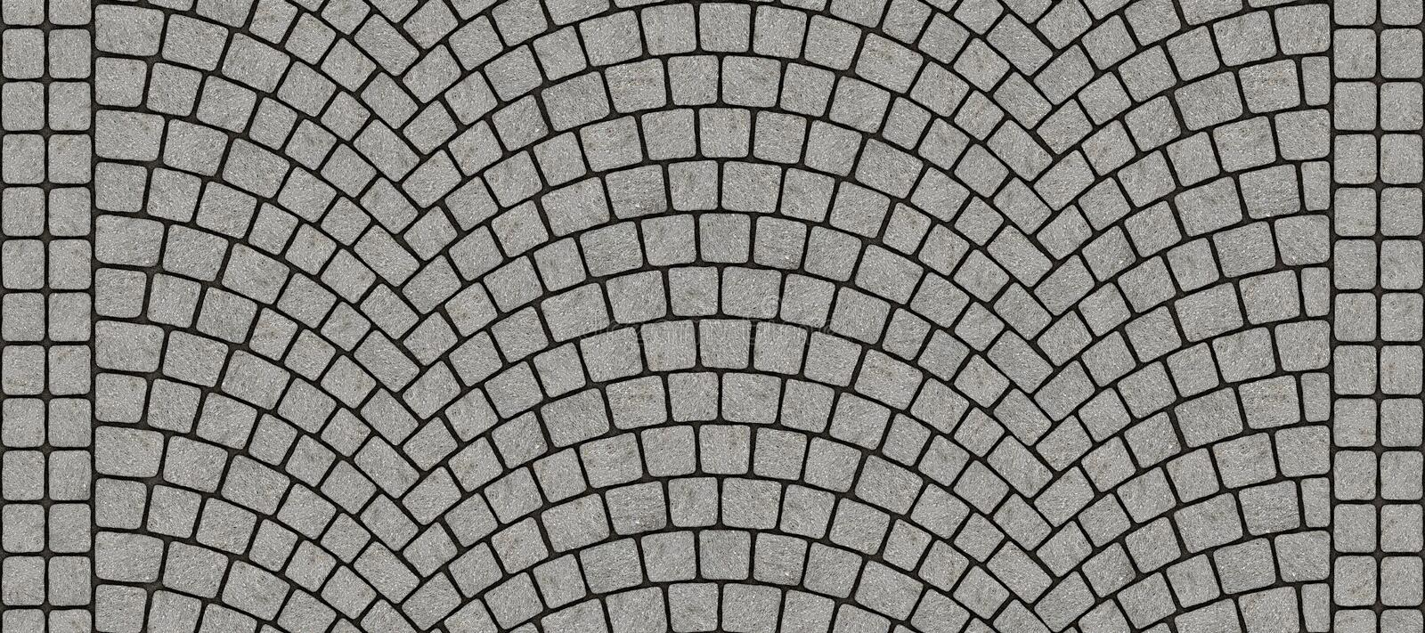 Road curved cobblestone texture 125. Cobblestone arched pavement road with edge courses at the sidewalk. Seamless tileable repeating 3D rendering texture royalty free illustration