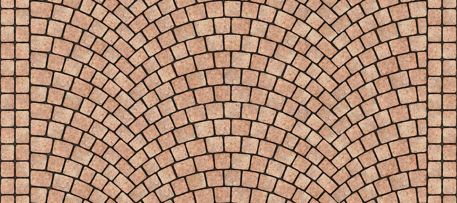 Road curved cobblestone texture 126. Cobblestone arched pavement road with edge courses at the sidewalk. Seamless tileable repeating 3D rendering texture vector illustration