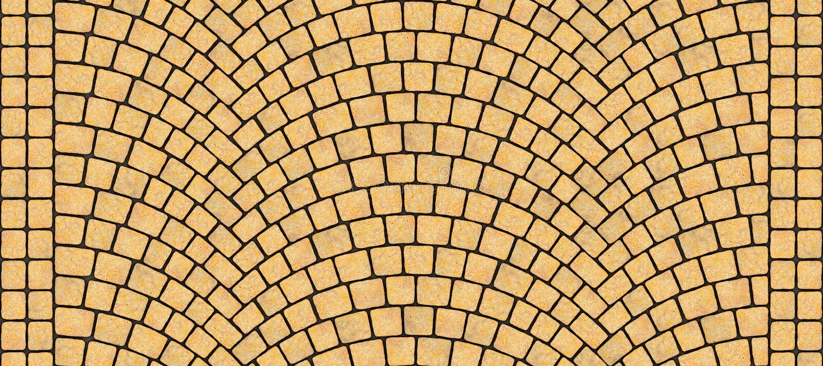 Road curved cobblestone texture 128. Cobblestone arched pavement road with edge courses at the sidewalk. Seamless tileable repeating 3D rendering texture stock illustration