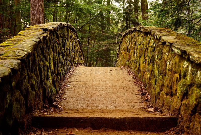Cobblestone Crossing. Mossy cobblestone bridge at Hocking Hills State Park in Logan, OH royalty free stock photos