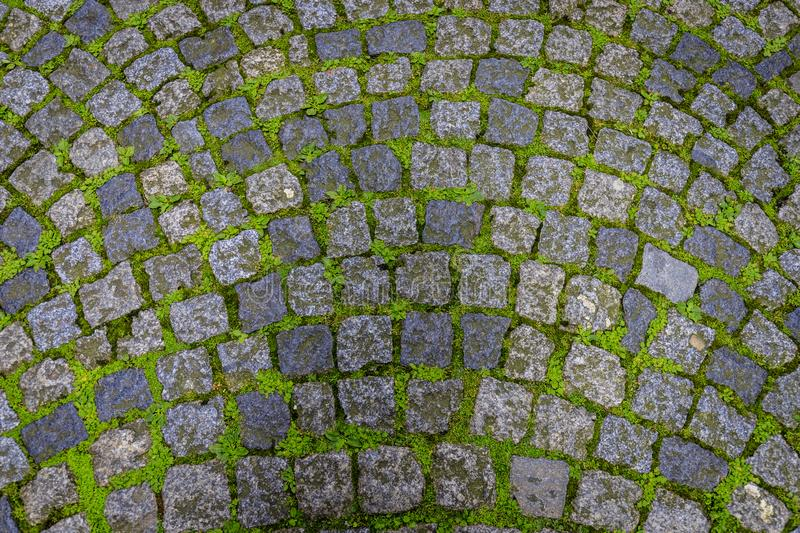 Cobblestone floor of a French city stock image