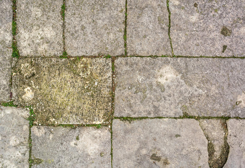 Cobblestone with grass texture stock photos