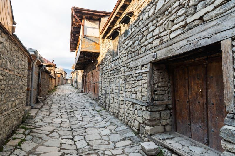Cobblestone Huseynov street in Lagic village in Ismayilli region of Azerbaijan. Lahic, Ismayilli region, Azerbaijan - April 27, 2019. Cobblestone Huseynov street royalty free stock photos