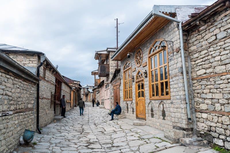 Cobblestone Huseynov street in Lagic village in Ismayilli region of Azerbaijan. Lahic, Ismayilli region, Azerbaijan - April 27, 2019. Street view on cobblestone royalty free stock photos