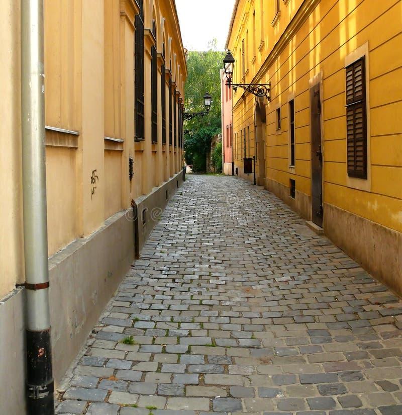 Cobblestone narrow street royalty free stock photography