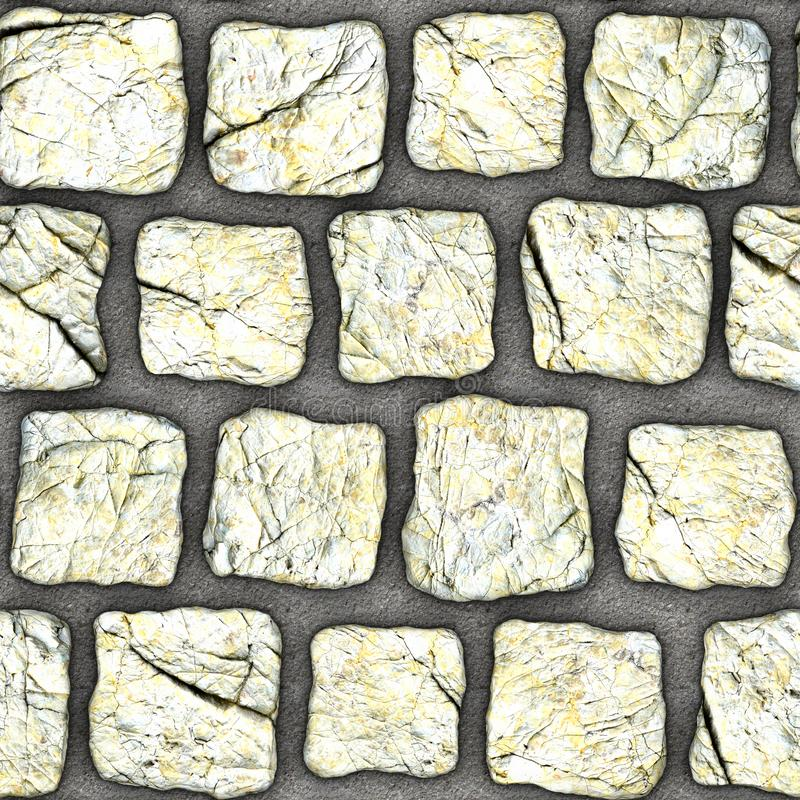 S106 Seamless texture - cobblestone pavers. Cobblestone natural stone pavers insert in concrete. Seamless tileable repeating square 3D rendering texture stock photography