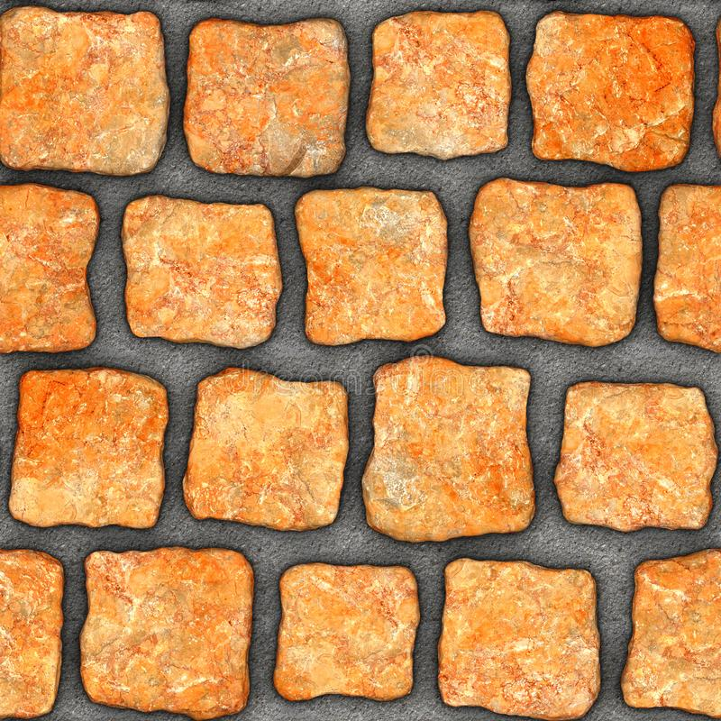 S110 Seamless texture - cobblestone pavers. Cobblestone natural stone pavers insert in concrete. Seamless tileable repeating square 3D rendering texture royalty free stock photo