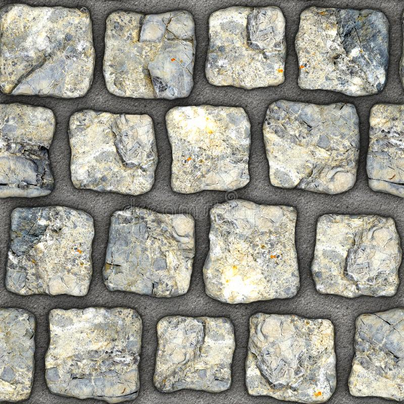 S103 Seamless texture - cobblestone pavers. Cobblestone natural stone pavers insert in concrete. Seamless tileable repeating square 3D rendering texture stock photos