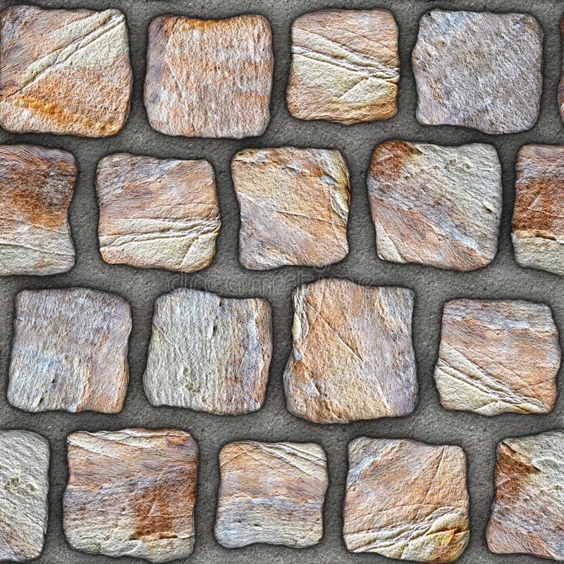S036 Seamless texture - cobblestone pavers. Cobblestone natural stone pavers insert in concrete. Seamless tileable repeating square 3D rendering texture royalty free stock photo