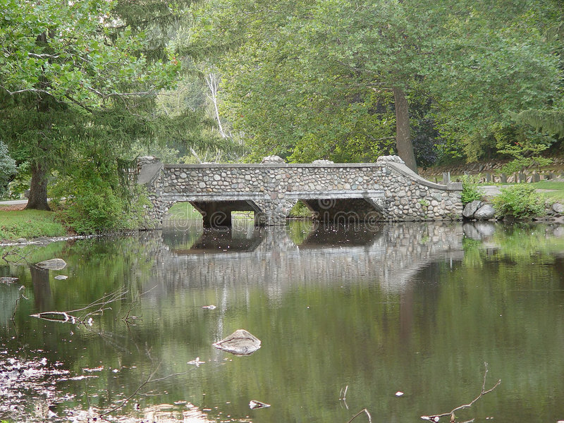 Cobblestone Park Bridge Stock Images