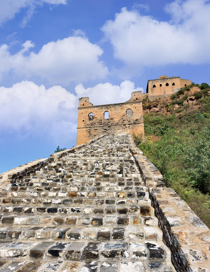 Cobblestone path to watchtower, Jinshanling Great Wall stock photo